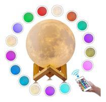 Luminária Lua Cheia 3d Abajur Usb/touch Control 18cm -