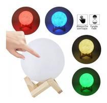 Luminária Lua Cheia Luminaria Mesa Escrivadinha Abajur 3D Abajur Luz Led Touch 4 Cores 14cm -