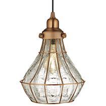 Luminária Lustre Pendente 24X29X24Cm Metal Cobre - Mart