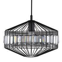 Luminária Lustre Pendente C/Cristais 36X28X36Cm Metal Preto - Mart