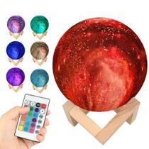 luminária luz 16 cores Abajur Galaxia recarregavel C/ Controle - Moon Light