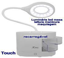 Luminária mesa led leitura estudo maquiagem manicure 4 tons de luz recarregável touch - Amvshop7