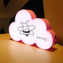 Luminária Nuvem Escrever Light Box Porta Recado +3 Canetas- Rosa - Interponte