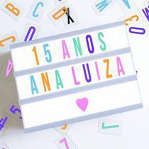 Luminária Palavras Letras Light Box Cinema Letreiro Led Rosa Colorido - Sanxia