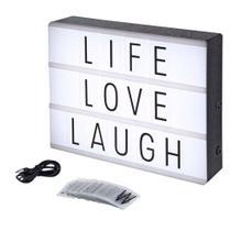 Luminária Palavras Letras Light Box Cinema Letreiro Led -