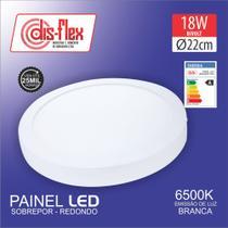 LUMINARIA PLAFON LED REDONDA 6500k 18W 110 / 220V SOBREPOR BRANCA , CAIXA 20 UNID.  Cod68.007 - Disflex