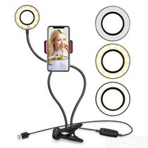 Luminaria Ring Light Led USB de Mesa c/ Suporte p/ Celular - Lotus