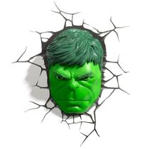 Luminária Rosto Hulk, 3D Light FX, Verde - Disney