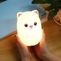 Luminaria Silicone Touch Rosa Abajur LED Sensor Colorido Recarregavel Criança - Ideal