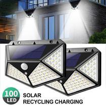 Luminária Solar 100 Leds Com Sensor Presença Sem Fio à Prova D' Água Chuva Externa 3 Modos - Online