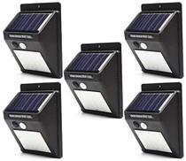 Luminária Solar de Parede 30 Leds 6w Sensor de Movimento Prova D' Água Kit com 5 Unidades - Golden