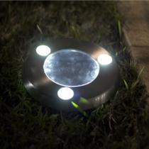 Luminária Solar jardim 3 led branco balizador inox decks piscina gramado prova de água - Ecoforce