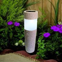 Luminária Solar jardim led branco balizador rustico prova de água - Ecoforce