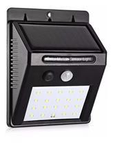 Luminária Solar Parede 30 Leds A prova dágua Sensor de luz Solar e Energia - Exclusivo