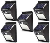 Luminaria Solar Parede 30 Leds Sensor de movimento Energia Lampada kit 5 unid luz externa - Solar Led