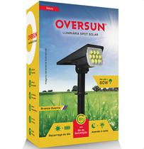 Luminária Spot Solar 60w Potente Jardim Led Branco Quente 3000K Refletor Oversun -