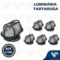 Luminária tartaruga oval com grade preto e27 ip65 kit6 - Valepinho