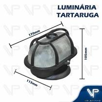 Luminária tartaruga oval com grade preto e27 ip65 - Valepinho