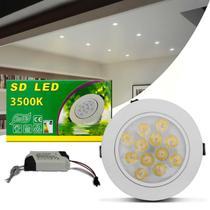 Luminária Teto Spot LED 12W Redonda Direcionável 3500K Amarelo Bivolt Alumínio Embutir Gesso Sanca - Prime