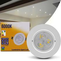 Luminária Teto Spot LED 3W Redonda Direcionável 6000K Branca Bivolt Alumínio Embutir Gesso Sanca - Prime