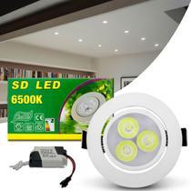 Luminária Teto Spot LED 3W Redonda Direcionável 6500K Branco Bivolt Alumínio Embutir Gesso Sanca - Prime