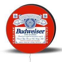 Luminoso de Parede Budweiser 40cm Acrilico LED, Luminoso de Bar e Churrasqueira, Placa Decorativa de Parede - Acriloja