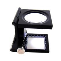 Lupa Conta Fios Alumínio Com Luz Ampliação 8x Escala 25mm TH9005A - Oksn
