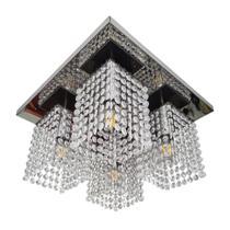 Lustre base 40x40 espelhado com cubos cristais Legitimo K 9 brilho  E 27 - Lumilife Iluminação