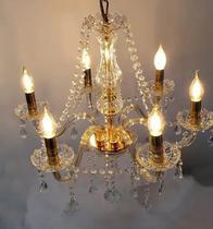 Lustre Cristal Legitimo K9 - 6 Braços -  Dourado - Dubai