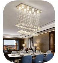 Lustre de cristais legítimos k9 de 30mm, para sala de jantar,com 80cm de alt base de inox 70x20cm - Luz Decor