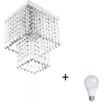 Lustre De Cristal Acrilico Marrycrilic com Lâmpada 3000K (Br - Marryluz
