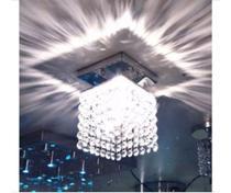 Lustre de Cristal com 168 Cristais Legítimos Alto Brilho Para Quarto, Lavabo, Hall Social - Base Toda Feita em Aço Ino - CASA CRISTALLE