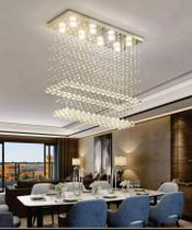 Lustre de cristal para sala de jantar, retangular base de inox 70x20cm com 1 m de altura - Luz Decor