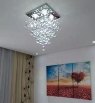 Lustre de cristal para sala , quarto com 40 cm de altura , base de inox espelhado 30x30 cm - Luz Decor