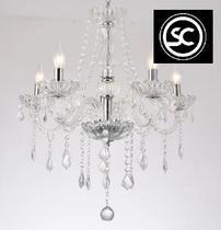 Lustre france 5 braços 45cm acrílico, vidro e cristal transparente - STARTEC