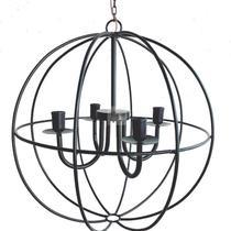 lustre luminária globo ferro de teto  preto rústico decoração 4 lâmpadas artesanal sala de jantar casa pé direito cozinha - Minas Arte Própria