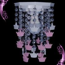 Lustre Luminária Quarto Tema Infantil Bebê Menina Coroas Princesa - Lustres SH Design