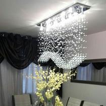 Lustre para sala de jantar Retangular com cristais legítimos e base de inóx 70x20cm com 80cm altura - Luz Decor