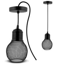 Lustre Pendente Aramado Industrial Renda Luminária Retrô Formato de Lâmpada Redonda - Marca