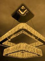 Lustre Pendente Espelhado Cristal K9 Legítimo Led Integrado 60w Quadrado Luz 3em1 - Led+