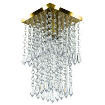 Lustre Plafon De Cristal Acrilico Spark Dourado Maravilhoso - MARRYLUZ