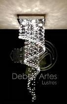 Lustre Plafon Espiral Em Cristal Legítimo K9 - Base Quadrada 35x35 - Lustres Debby Artes
