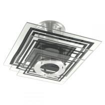 Lustre Plafon Sobrepor Quadrado Vidro - Preto - Sala Quarto - Shin Tech