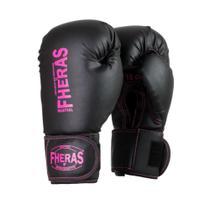 Luva Boxe Muay Thai Fheras Pró Black In Pink (080007) -
