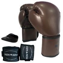 Luva Boxe Muay Thai Kit com Bandagem e Protetor Bucal Iron Arm -