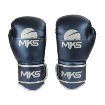 Luva Boxe Muay Thai Mks Combat Energy Azul Metalizada -