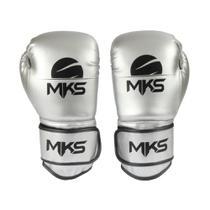 Luva Boxe Muay Thai Mks Combat Energy Prata Metalizada -