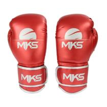 Luva Boxe Muay Thai Mks Combat Energy Vermelho Metalizada -
