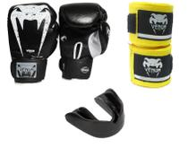 Luva boxe muay thai venum ufc 12oz + bandagem 4m + protetor -