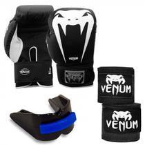 Luva Boxe Venum 16oz + 2 Bandagens 4 Metros + Protetor Bucal Duplo -